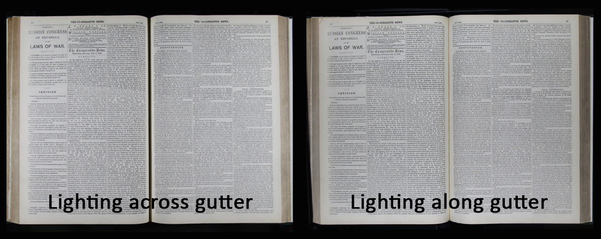 Lighting comparison - book gutter