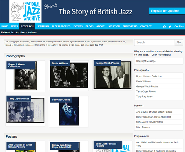 The National Jazz Archive website | TownsWeb Archiving
