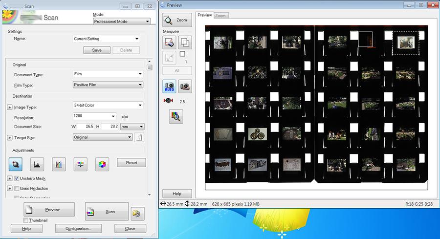 Drawing crop when digitising 35mm Slides