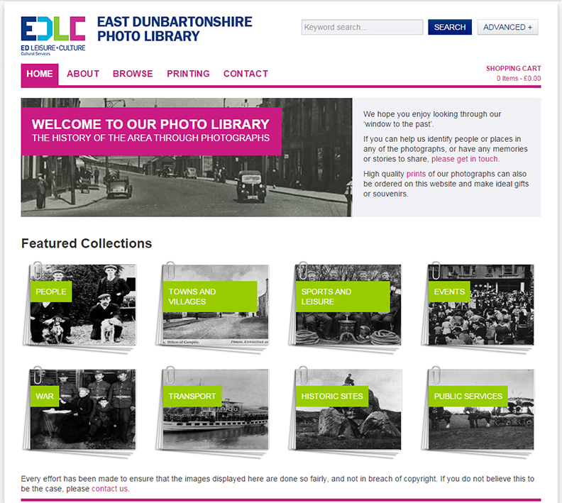 East Dunbartonshire Leisure and Culture photo digital archive homepage