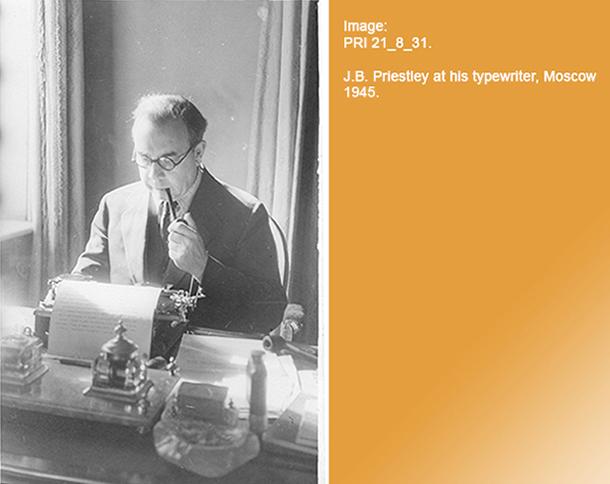 PRI 21_8_31. J.B. Priestley at his typewriter, Moscow 1945