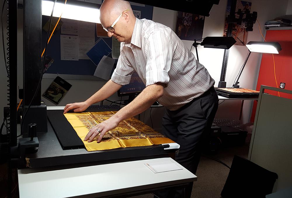 Imaging Technician Mark Brown digitising garments for M&S
