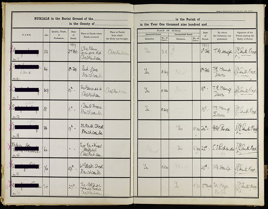 Digitised burial register page - Winchcombe Town Council Cemeteries