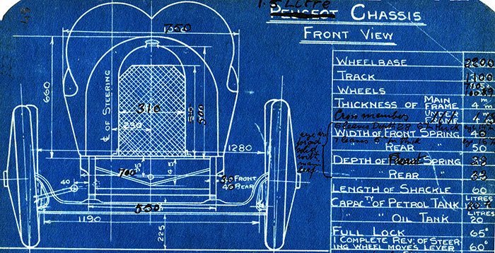 Blueprint-of-modified-Peugeot-racing-car-from-notebook-of-Georges-Henry-Roesch