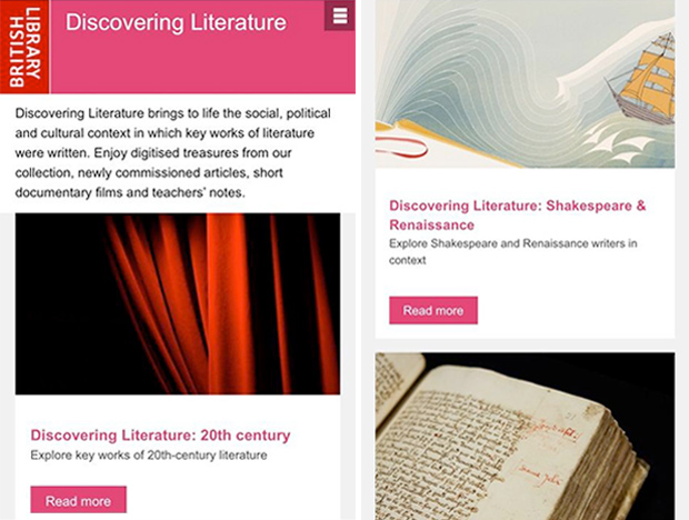 Web pages from Discovering Literature www.bl.uk/discovering-literature